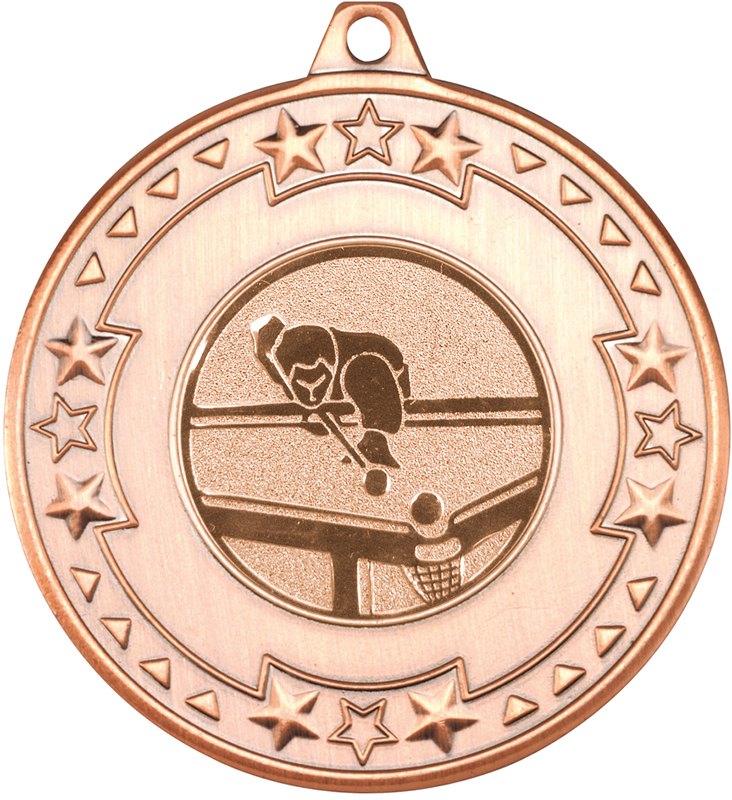 "Bronze Star & Pattern Medal with 1"" Pool Centre Disc 50mm (2"")"
