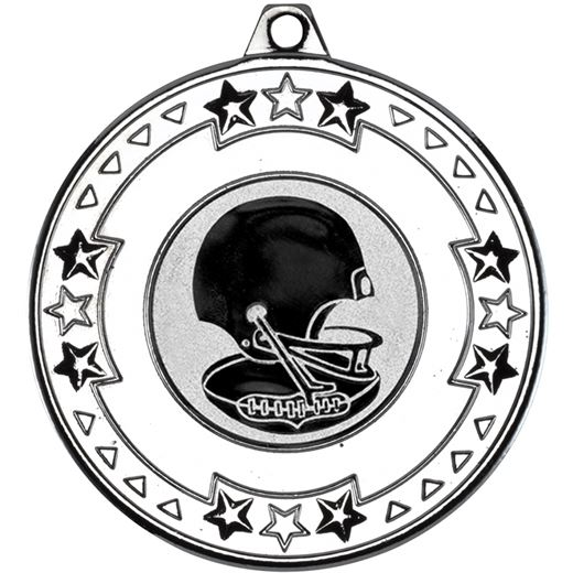 """Silver Star & Pattern Medal with 1"""" American Football Centre Disc 50mm (2"""")"""