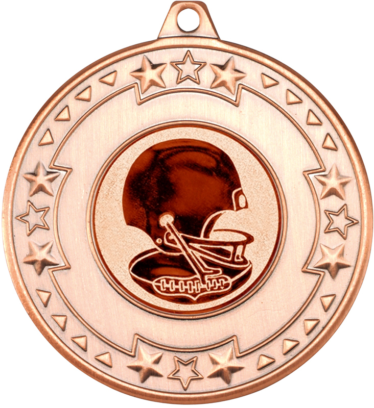 """Bronze Star & Pattern Medal with 1"""" American Football Centre Disc 50mm (2"""")"""