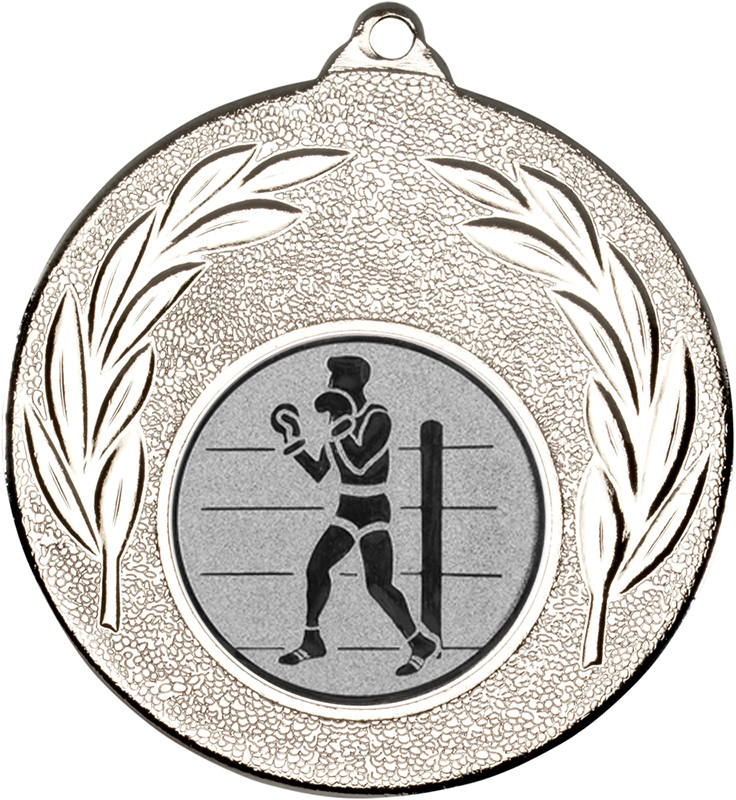 """Silver Leaf Medal 50mm (2"""") with 1"""" Boxing Centre Disc"""
