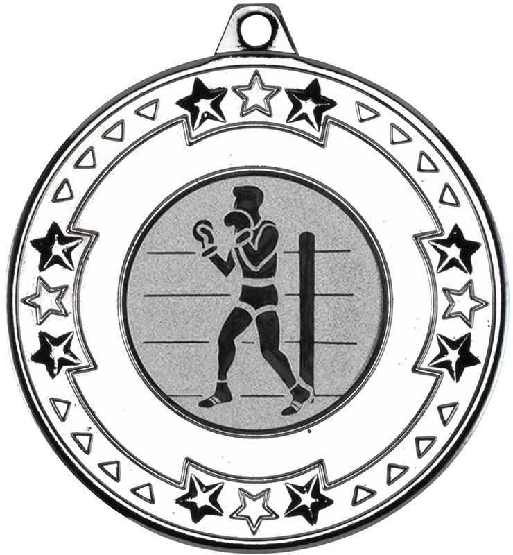 "Silver Star & Pattern Medal 50mm (2"") with 1"" Boxing Centre Disc"