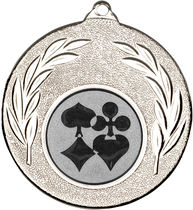 """Silver Leaf Medal 50mm (2"""") with 1"""" Cards Centre Disc"""