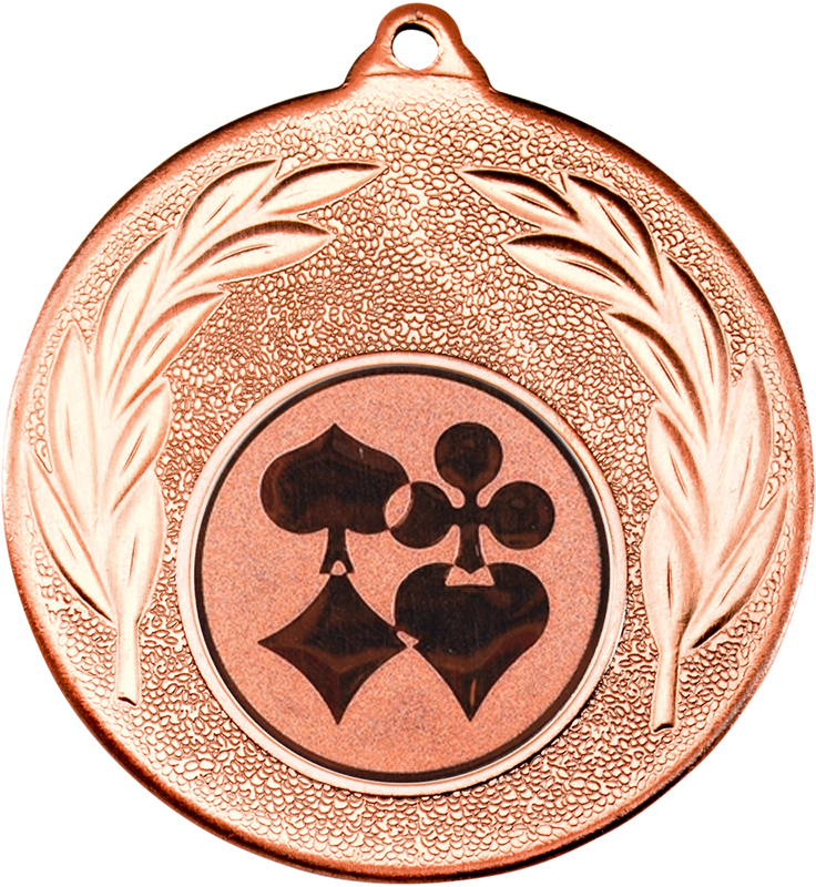 "Bronze Leaf Medal 50mm (2"") with 1"" Cards Centre Disc"