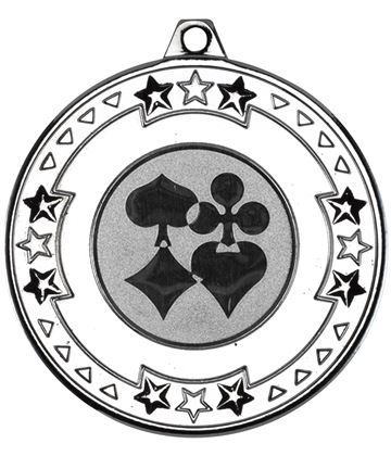 "Silver Star & Pattern Medal with 1"" Cards Centre Disc 50mm (2"")"