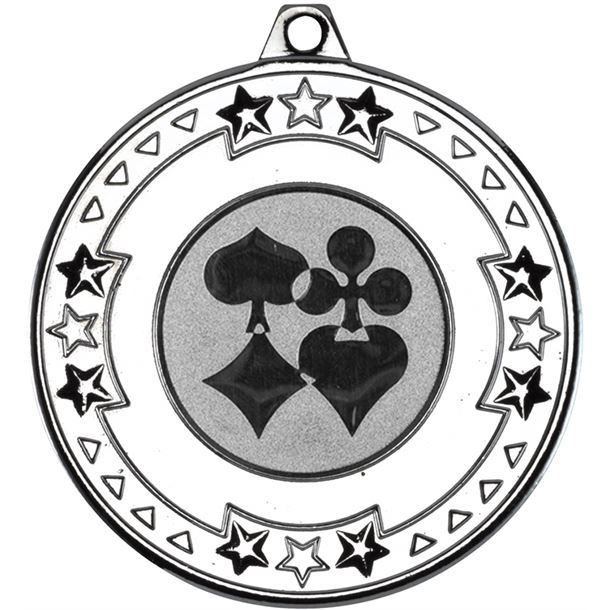 """Silver Star & Pattern Medal with 1"""" Cards Centre Disc 50mm (2"""")"""