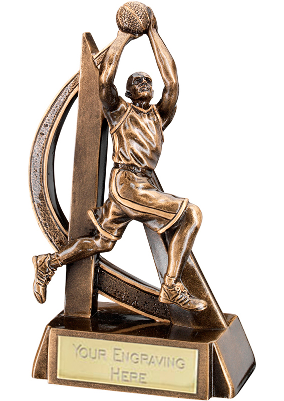 "Antique Gold Male Basketball Player Trophy with Gold Trim 21cm (8.25"")"
