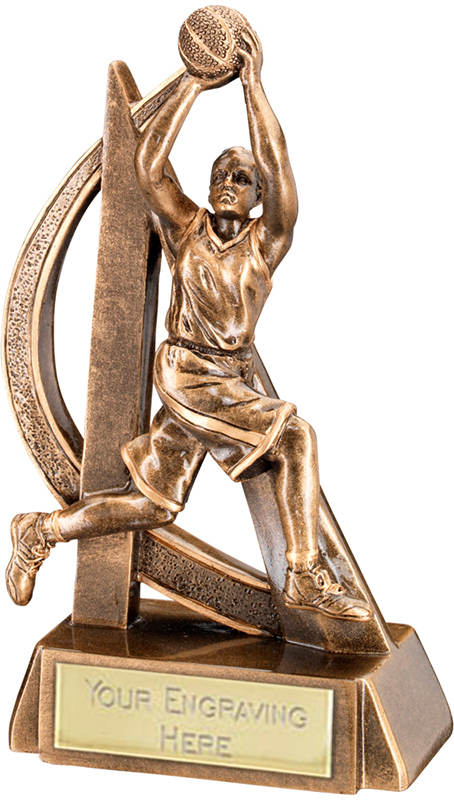 "Antique Gold Female Basketball Player Trophy with Gold Trim 18cm (7"")"