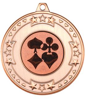 """Bronze Star & Pattern Medal with 1"""" Cards Centre Disc 50mm (2"""")"""