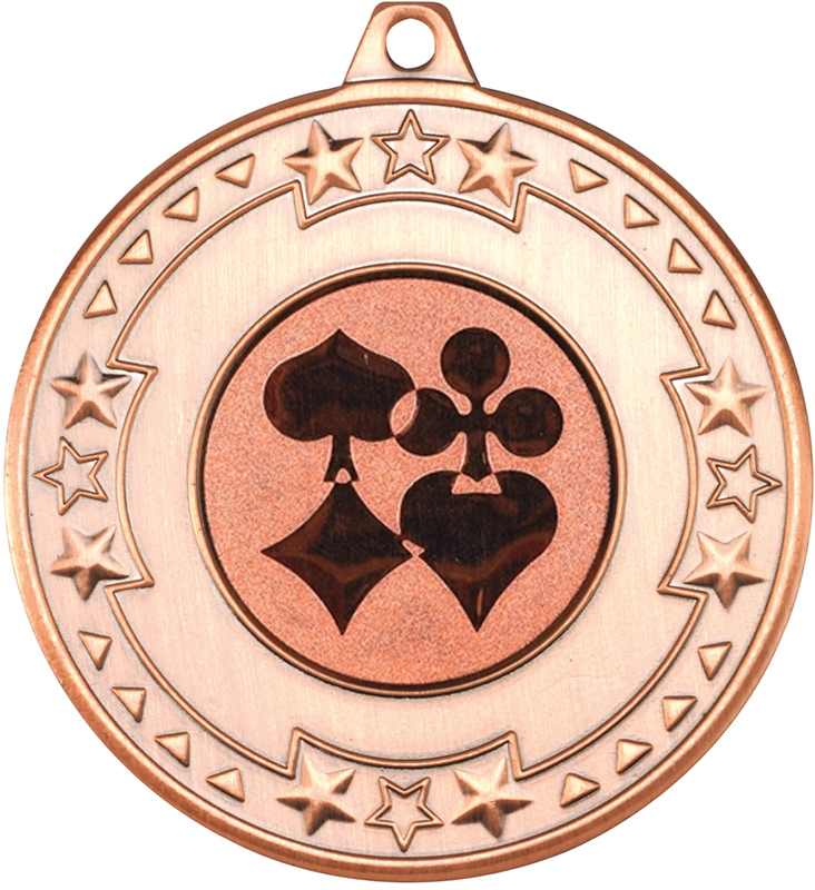 "Bronze Star & Pattern Medal with 1"" Cards Centre Disc 50mm (2"")"