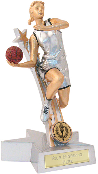 "Silver & Gold Female Basketball Star Trophy 15cm (6"")"
