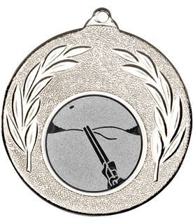 "Silver Leaf Medal with 1"" Clay Pigeon Shooting Centre Disc 50mm (2"")"