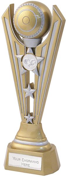 """Gold & Silver Resin Lawn Bowls Fan Trophy 25.5cm (10"""")"""