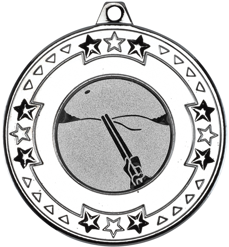 "Silver Star & Pattern Medal with 1"" Clay Pigeon Shooting Centre Disc 50mm (2"")"