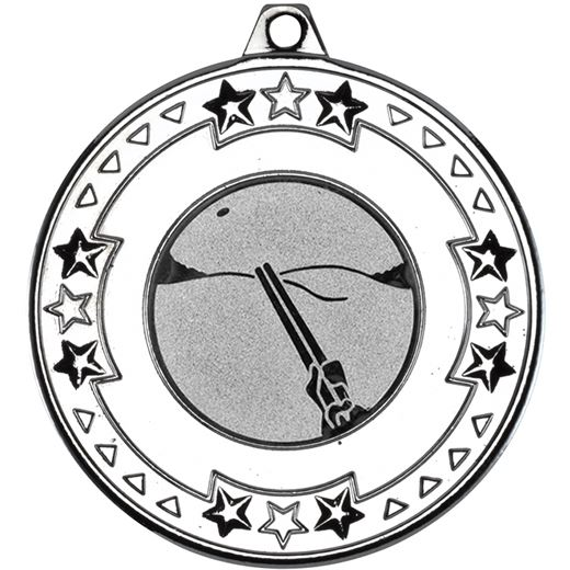 """Silver Star & Pattern Medal with 1"""" Clay Pigeon Shooting Centre Disc 50mm (2"""")"""