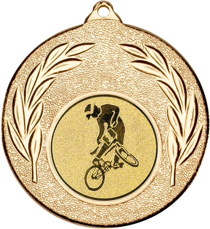 "Gold Leaf Medal with 1"" BMX Centre Disc 50mm (2"")"