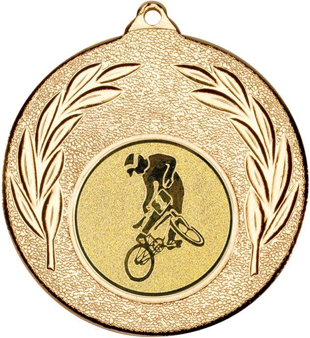 """Gold Leaf Medal with 1"""" BMX Centre Disc 50mm (2"""")"""