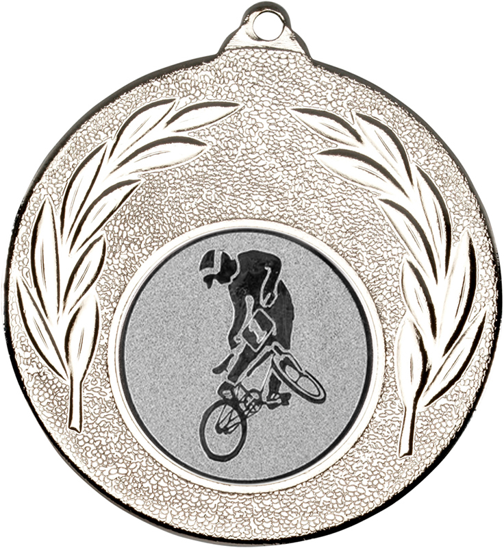"Silver Leaf Medal with 1"" BMX Centre Disc 50mm (2"")"