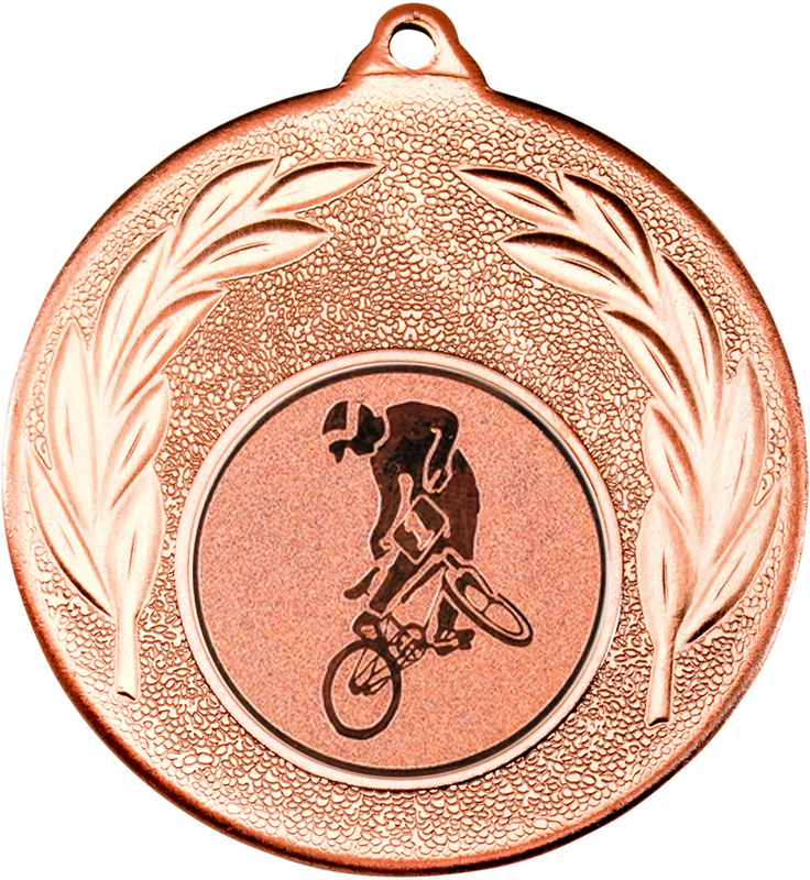 "Bronze Leaf Medal with 1"" BMX Centre Disc 50mm (2"")"