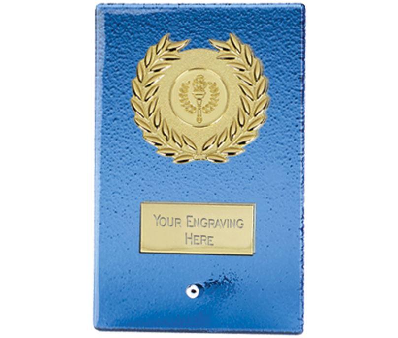 "Gold & Artic Blue Glass Free Standing Plaque 18cm (7"")"