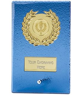"Gold & Artic Blue Glass Free Standing Plaque 12.5cm (5"")"