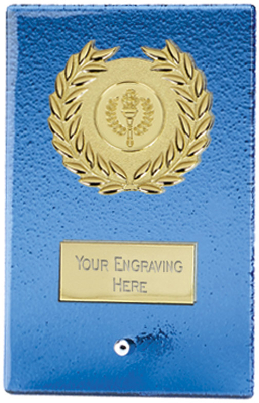 "Gold & Artic Blue Glass Free Standing Plaque 15cm (6"")"