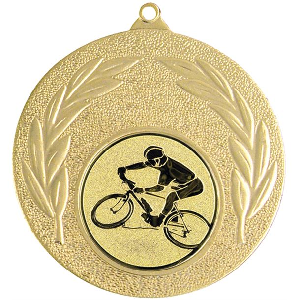 "Gold Mountain Bike Cycling Medal with Leaf Pattern 50mm (2"")"
