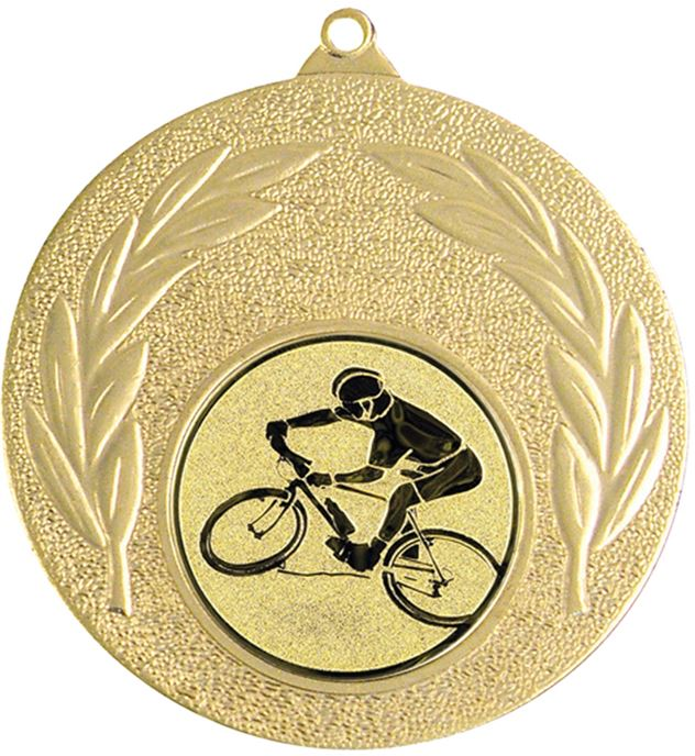 """Gold Mountain Bike Cycling Medal with Leaf Pattern 50mm (2"""")"""