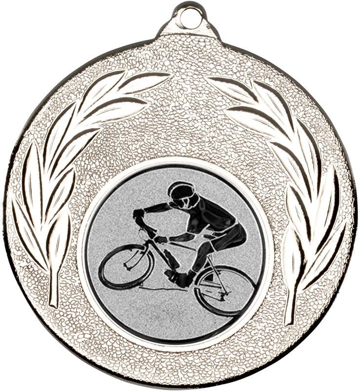 "Silver Mountain Bike Cycling Medal with Leaf Pattern 50mm (2"")"