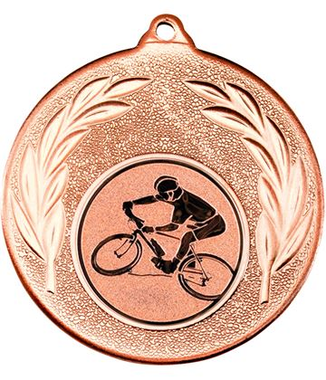 """Bronze Mountain Bike Cycling Medal with Leaf Pattern 50mm (2"""")"""