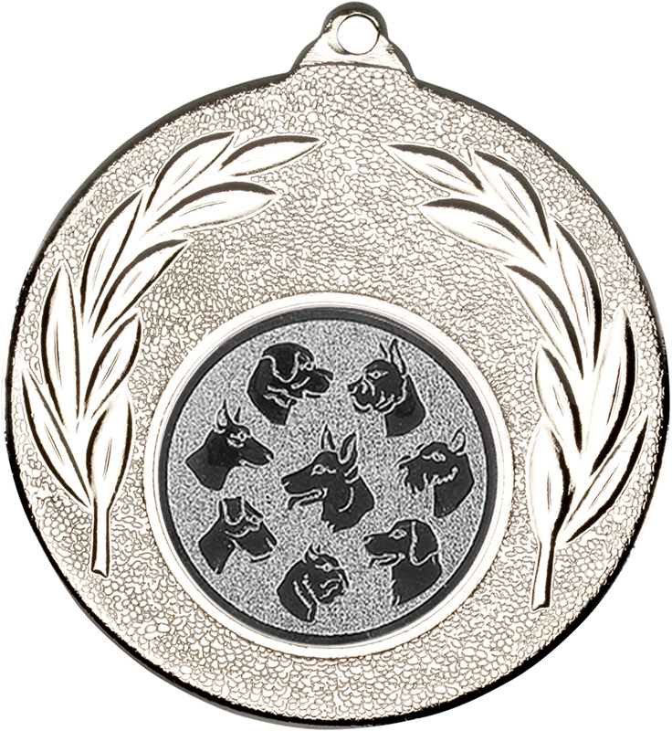 "Silver Leaf Medal with 1"" Dog Centre Disc 50mm (2"")"