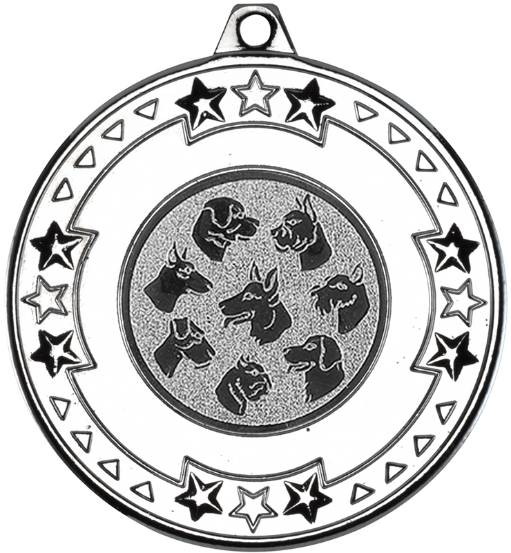"Silver Star & Pattern Medal with 1"" Dog Centre Disc 50mm (2"")"