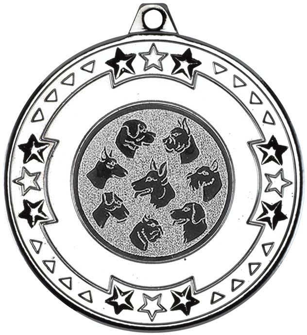 """Silver Star & Pattern Medal with 1"""" Dog Centre Disc 50mm (2"""")"""
