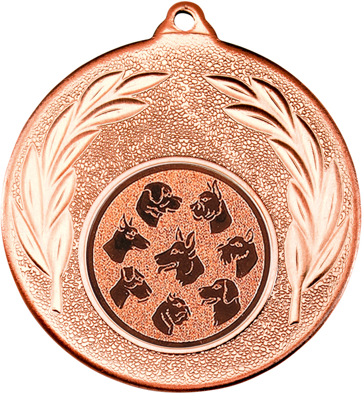 "Bronze Leaf Medal with 1"" Dog Centre Disc 50mm (2"")"
