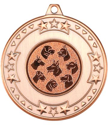"Bronze Star & Pattern Medal with 1"" Dog Centre Disc 50mm (2"")"
