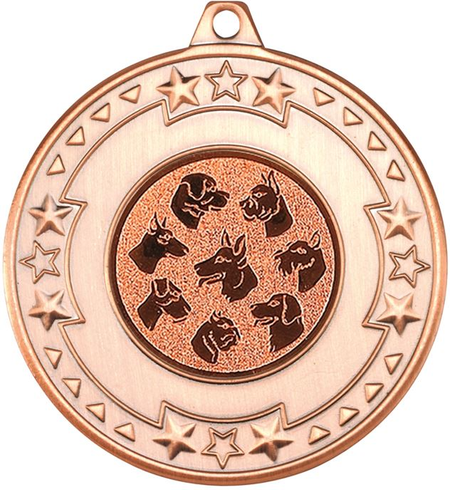 """Bronze Star & Pattern Medal with 1"""" Dog Centre Disc 50mm (2"""")"""