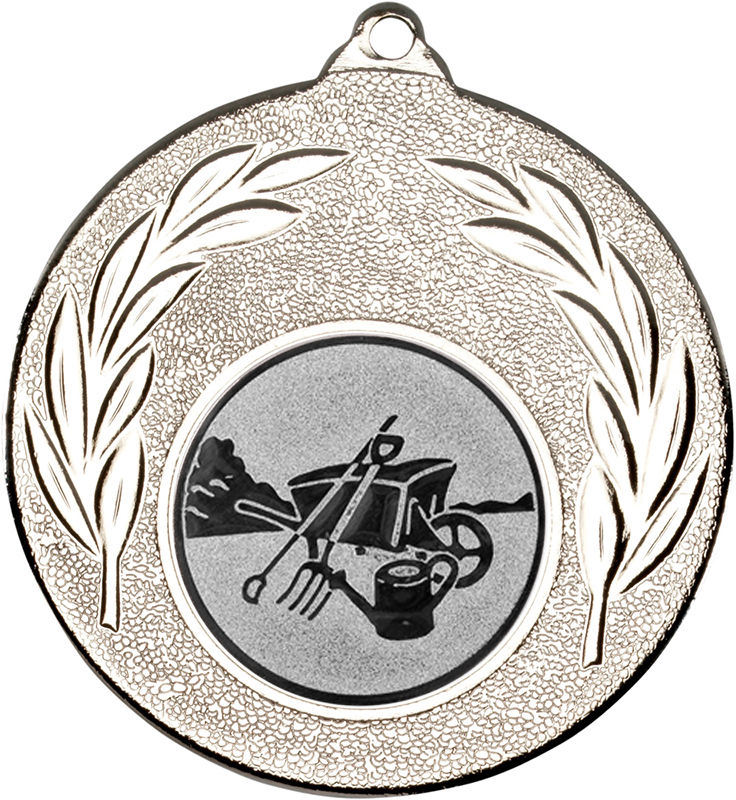"""Silver Leaf Medal with 1"""" Gardening Centre Disc 50mm (2"""")"""