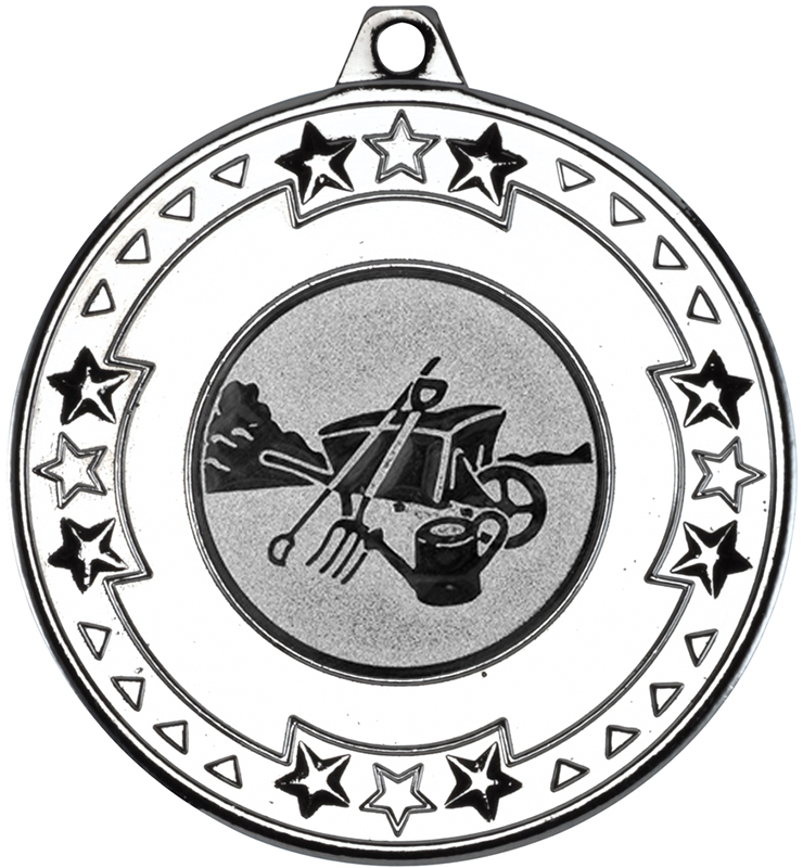 "Silver Star & Pattern Medal with 1"" Gardening Centre Disc 50mm (2"")"