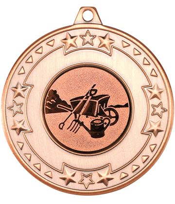 "Bronze Star & Pattern Medal with 1"" Gardening Centre Disc 50mm (2"")"
