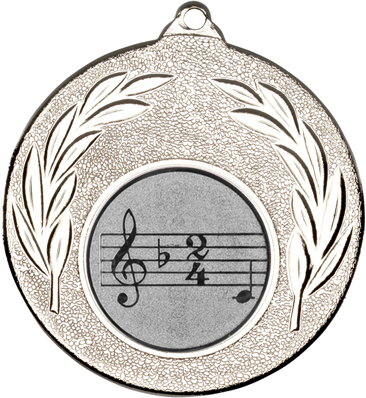 "Silver Leaf Medal with 1"" Singing/Music Centre Disc 50mm (2"")"