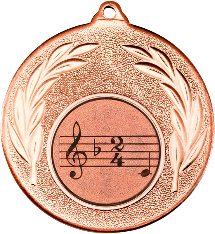 "Bronze Leaf Medal with 1"" Singing/Music Centre Disc 50mm (2"")"