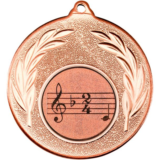 "Bronze Leaf Medal with 1"" Singing/Music Centre Disc 50mm (2"")"