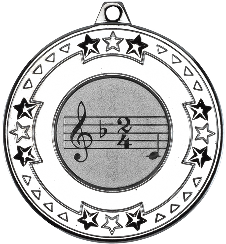 """Silver Star & Pattern Medal with 1"""" Singing/Music Centre Disc 50mm (2"""")"""
