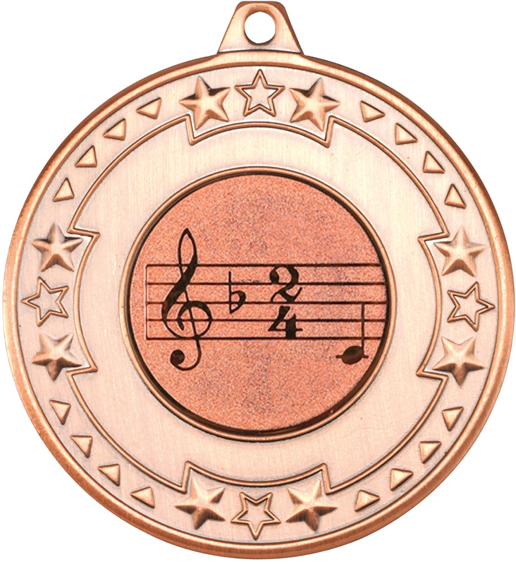 "Bronze Star & Pattern Medal with 1"" Singing/Music Centre Disc 50mm (2"")"