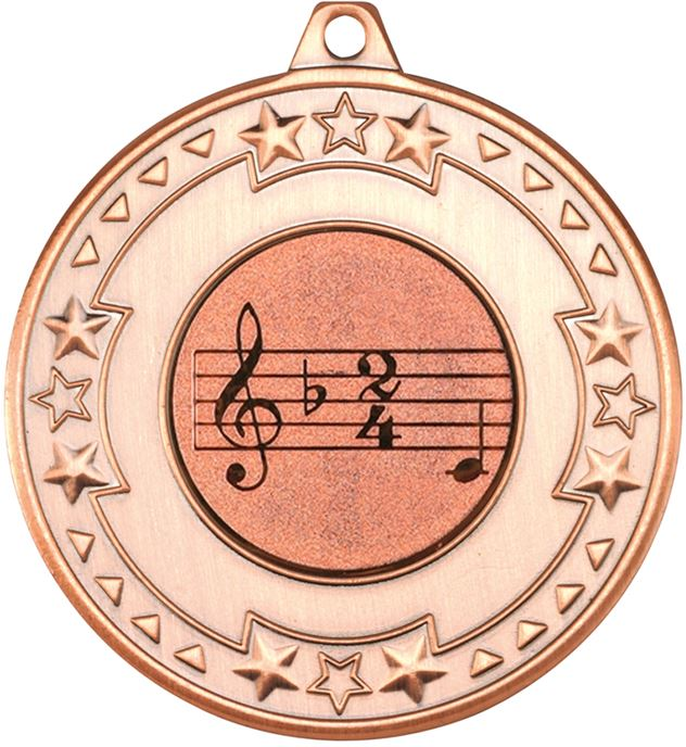 """Bronze Star & Pattern Medal with 1"""" Singing/Music Centre Disc 50mm (2"""")"""