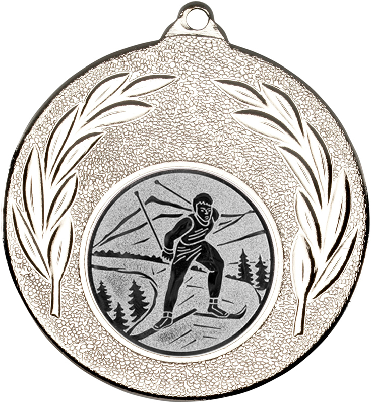 """Silver Leaf Medal with 1"""" Skiing Centre Disc 50mm (2"""")"""