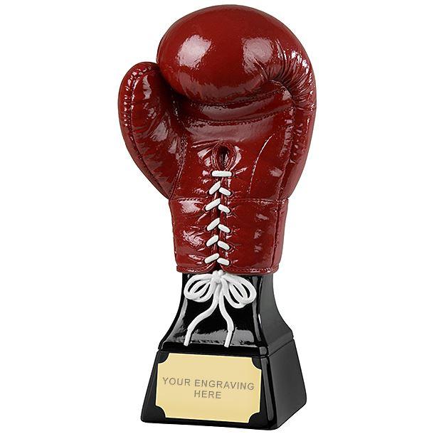 "Large 3D Red & Black Boxing Glove Trophy 23cm (9"")"