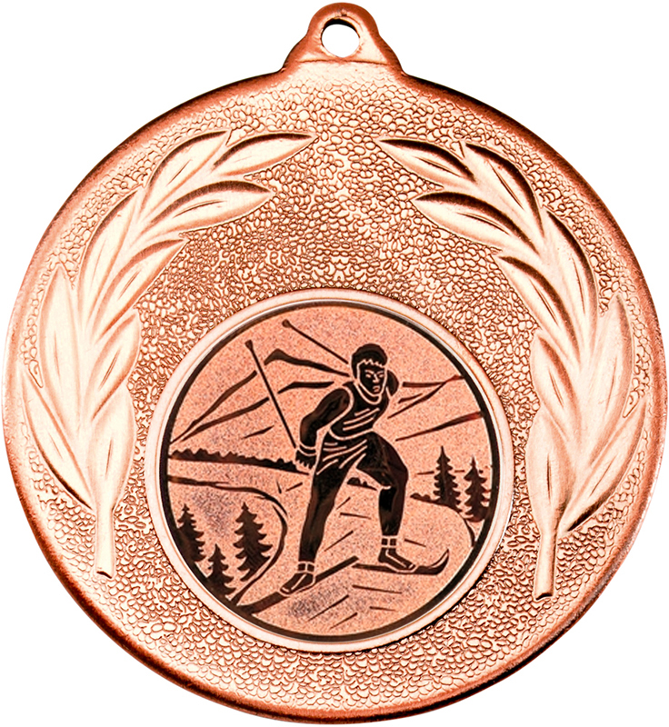 "Bronze Leaf Medal with 1"" Skiing Centre Disc 50mm (2"")"