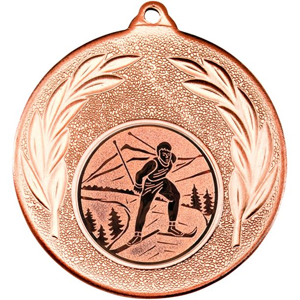 """Bronze Leaf Medal with 1"""" Skiing Centre Disc 50mm (2"""")"""