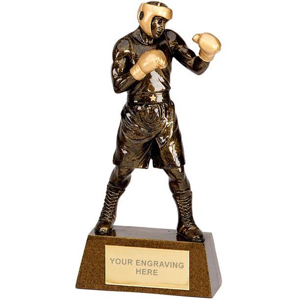 """Antique Gold Boxing Trophy 22cm (8.75"""")"""