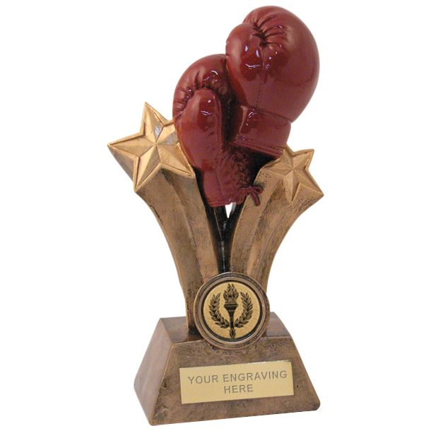 "Gold Shooting Stars & Boxing Gloves Trophy 15cm (6"")"
